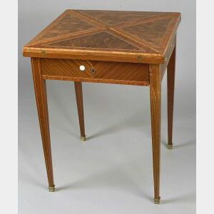 French Crossbanded Tulipwood Parquetry Handkerchief Table