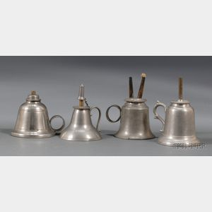 Four Small Bell-form Pewter Hand Lamps