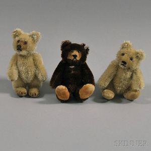 """Three Tiny Mohair """"Teddy Baby"""" Steiff Bears"""