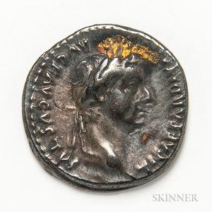 """Roman Empire, Tiberius AR Denarius, """"Tribute Penny"""" Type."""