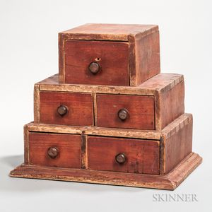 Red-painted Three-tier Spice Box