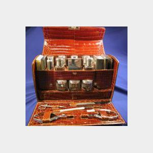 Crocodile, Sterling Silver, and Ivory Valet Traveling Case, Pergue, Paris