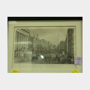 Framed Print View in Wall Street from Corner of Broad