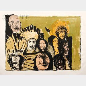 Leonard Baskin (American, 1922-2000)      Indian Faces