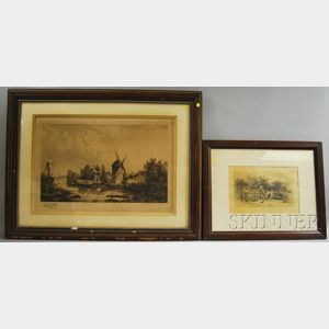 Two Framed Etchings:      James David Smillie (American, 1833-1909), My Colored Neighbor's Hen Yard