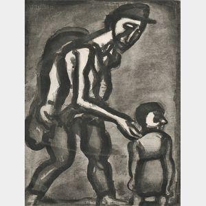 Georges Rouault (French, 1871-1958)      Se réfugie en ton coeur, va-nu-pieds de malheur