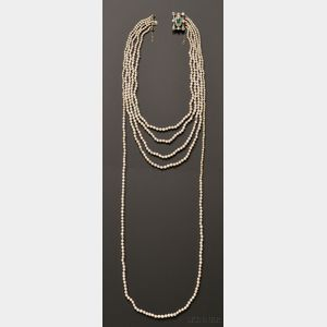 Important Natural Pearl Five-strand Necklace