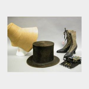 19th Century Ladys Straw Bonnet, a Pair of Regina High Leather Boots, an Embellished Silk Purse and a Gentlemans Top Hat.
