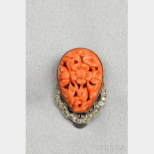 Art Deco Coral and Diamond Clip