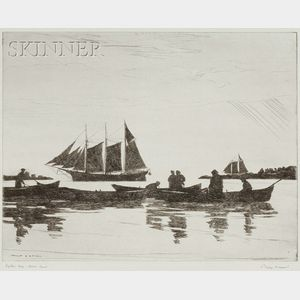 Philip Kappel (American, 1901-1981)      Lot of Three Seafaring Views: Lifting Fog - Down East;   Shooting the Sun;