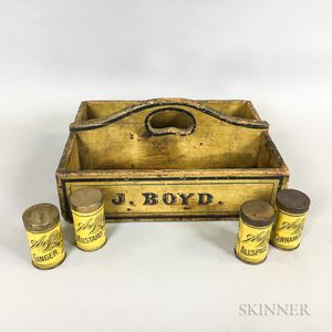 "Carved and Yellow-painted Pine ""J. Boyd"" Carrier and Four A&P Spice Tins"