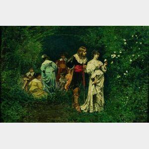 Giacomo Mantegazza (Italian, 1853-1920)    A Token of Love in the Garden