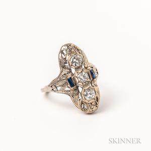 Art Deco 14kt White Gold, Diamond, and Synthetic Sapphire Ring
