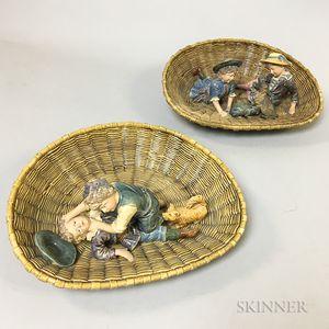 Pair of German Majolica Figures in Baskets