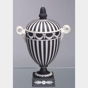 Wedgwood Black Jasper Dip Engine Turned Vase and Cover