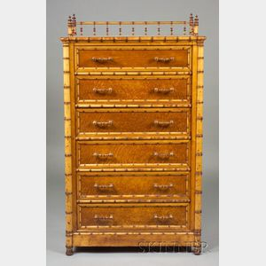 Victorian Faux Bamboo and Bird's Eye Maple Wellington Chest