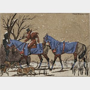 Attributed to Maurice Taquoy (French, 1878-1952)    Horses and Hounds in Falling Snow