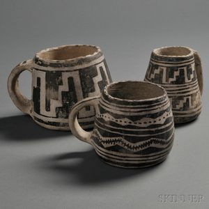 Sold for: $4,200 - Three Anasazi Black-on-white Mugs