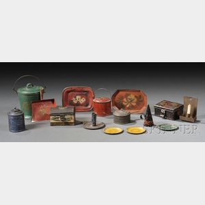 Fifteen Mostly Paint-decorated Tinware Household Items