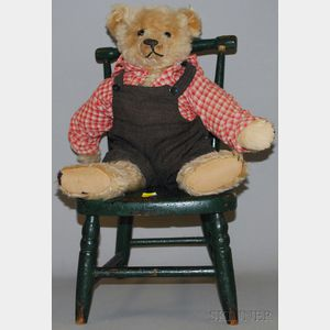 Pale Blonde Mohair Bear with Chair