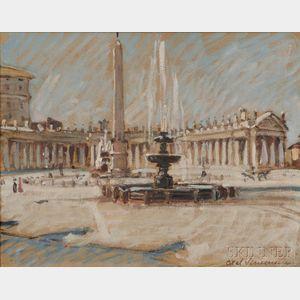 Axel Bjerre Simonsen (Danish, 1884-1962)      The Obelisk, St. Peter's Square