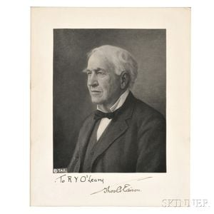 Edison, Thomas Alva (1847-1931) Signed Portrait.