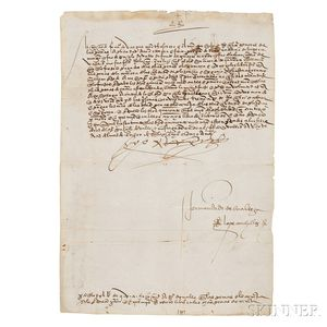 Ferdinand V, King of Spain (1452-1516) Document Signed, January 1515.