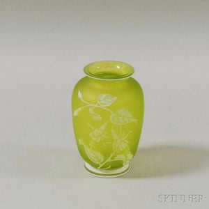 English Cameo Glass Vase with Moth and Flowers