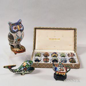Set of Ten Modern Cloisonne Cups, an Owl, an Elephant Teapot, and a Whale.