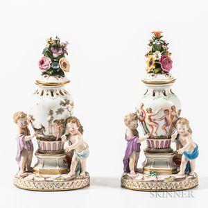 Pair of Meissen Porcelain Figural Potpourri Vases and Covers