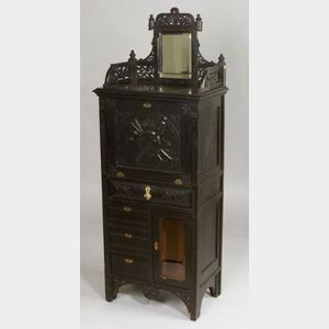 American Aesthetic Movement/Eastlake Carved and Ebonized Side Cabinet