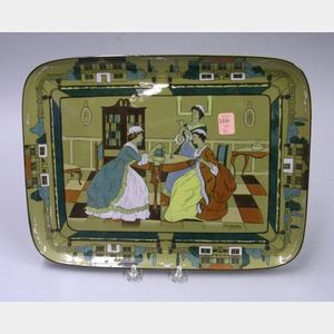 "1908 Buffalo Pottery Deldare Ware ""Heirlooms"" Tray"