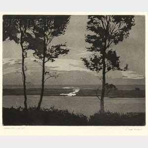 Philip Kappel (American, 1901-1981)      Lot of Two Views: Lobsterman at Dawn