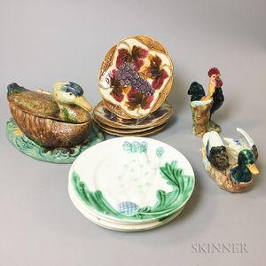 Eleven French Majolica Ceramic Items