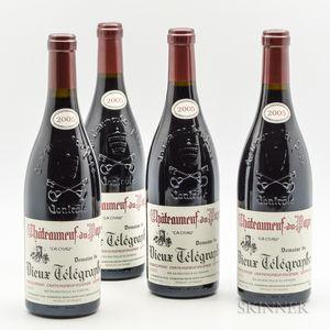 Vieux Telegraphe Chateauneuf du Pape La Crau 2005, 4 bottles