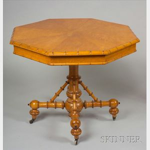 Victorian Faux Bamboo and Maple Octagonal Center Table