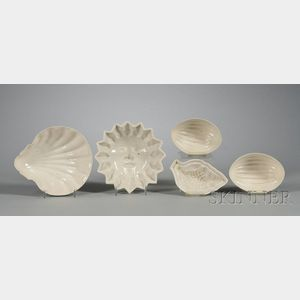 Five Staffordshire White Saltglazed Stoneware Culinary Molds