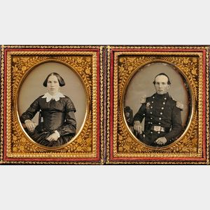 Two Sixth Plate Daguerreotype Portraits of a Union Officer and His Wife