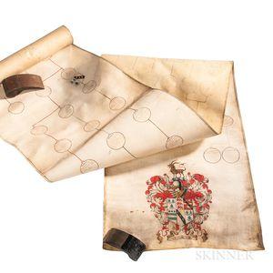 Genealogical Scroll, Waddesworth Family of Lancashire, 1681.