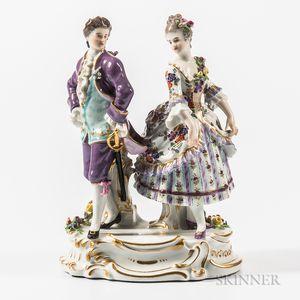 Meissen Porcelain Figural Group of a Couple Dancing