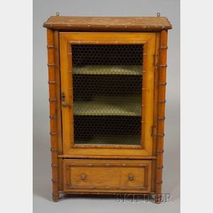 Victorian Faux Bamboo and Grill-inset Hanging Cabinet