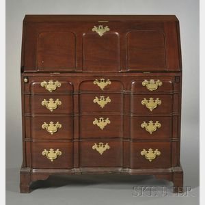 Chippendale Carved Mahogany Block-front Slant-lid Desk