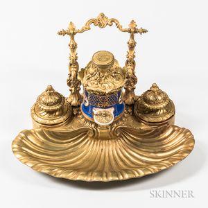 Paris Porcelain and Gilt-bronze-mounted Inkstand