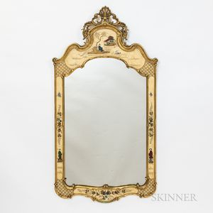 Chinoiserie-style Painted and Gilt Mirror