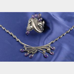 Sterling Silver and Amethyst Suite, Margot de Taxco