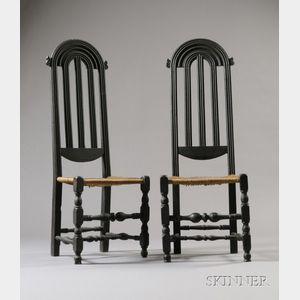 Sold for: $130,350 - Pair of Carved and Turned Black-painted Maple Side Chairs