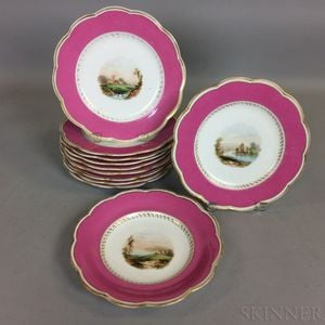 Set of Eleven Continental Hand-painted Porcelain Plates