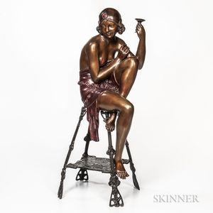After Ferdinando De Luca (Italian, 20th Century)       Bronze Sculpture of a Flapper Girl