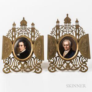 Pair of Porcelain-mounted Brass Frames