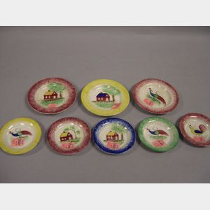 Eight Staffordshire-style Spatterware Cup Plates.